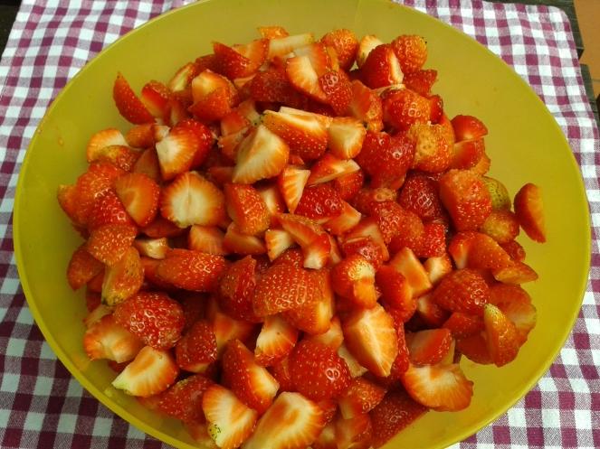 Erdbeeren geschnitten